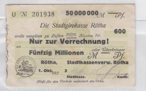 50 Millionen Mark Banknote Stadtgirokasse Rötha 1.10.1923 (118813)