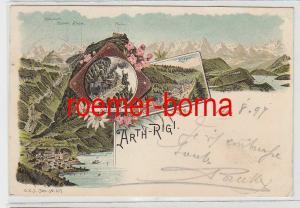 73895 Ak Lithographie Gruß aus Arth Rigi Schweiz 1897