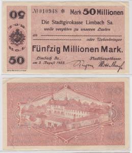 50 Millionen Mark Banknote Stadtgirokasse Limbach 3.8.1923 (121448)
