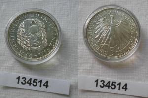 5 Mark Silber Münze Deutschland Gottfried Wilhelm Leibniz 1966 D (134514)