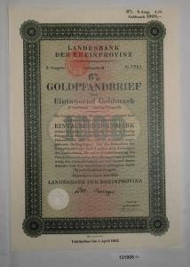 1000 Goldmark Pfandbrief Landesbank der Rheinprovinz Düsseldorf 1927 (131905)