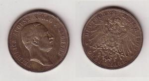 3 Mark Silber Münze Sachsen König Friedrich August 1909 (114290)