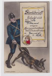 90433 Steckbrief Humor Ak Polizist mit Hund 1929