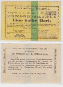 1/2 Mark Banknote Kriegswechselschein Amtsverband Mengede 10.3.1917 (122570)