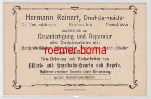 83465 Reklame Postkarte Drechslermeister Herman Reinert Krotoschin um 1900