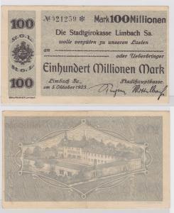 100 Millionen Mark Banknote Stadtgirokasse Limbach 5.10.1923 (121417)