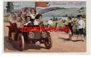81208 Pfingst Ak Kleinkinder fahren mit Automobil 1914