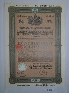 500 Goldmark Pfandbrief landwirtschaftl. Kreditverein Dresden 1.6.1928 (131912)