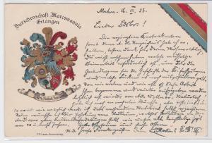 54862 Studentika AK Burschenschaft Marcomannia Erlangen -Ehre Freiheit Vaterland