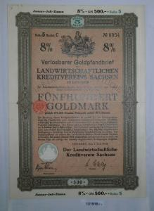 500 Goldmark Pfandbrief landwirtschaftl. Kreditverein Dresden 1.6.1928 (131915)