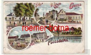 77693 Ak Lithografie Gruss aus Flössberg Gasthof, Rittergut usw. 1917