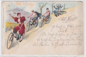 87058 Fahrrad Ak All Heil! Frau in rotem Kleid auf Fahrradtour 1898