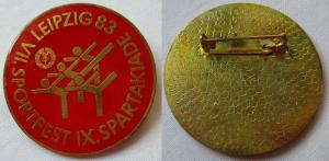 Emailliertes DDR Abzeichen VII. Sportfest IX. Spartakiade Leipzig 1983 (124976)