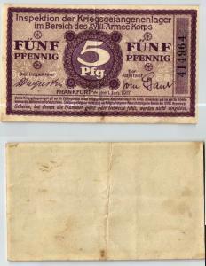5 Pfennig Banknote Kriegsgefangenlager Frankfurt a.M. 1.1.1917 (124011)
