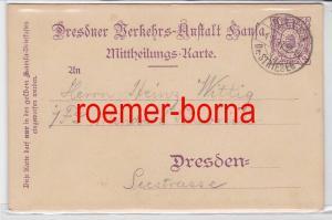 74281 Privatpost Ganzsache Dresdner Verkehrs Anstalt Hansa 1897