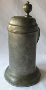 Antiker Zinn Walzenkrug Bierkrug Gravur