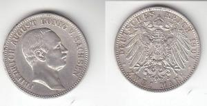 2 Mark Silber Münze Sachsen König Friedrich August 1907 E (114559)