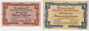 5 und 20 Mark Banknoten Kriegsnotgeld Stadt Zweibrücken 1918 (108659)