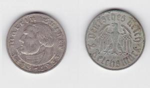 2 Mark Silber Münze Martin Luther 1933 D Jäger 352 (117257)