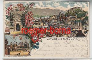 77087 Ak Lithografie Gruss aus Salzburg Festung, Neuthor, Bräustübel 1901