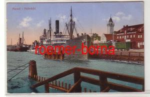 81006 Feldpost Ak Memel Klaipeda Hafenbild mit Dampfer 1915