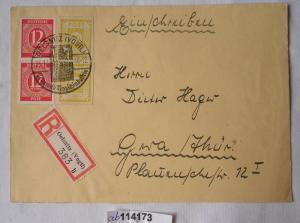 Alter Einschreiben Brief  SBZ gestempelt Ölsnitz i.V. 1946 (114173)