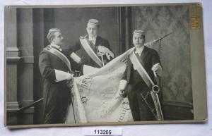 113205 Original Studentika Kabinett Foto 3 Studenten Halle an der Saale um 1910