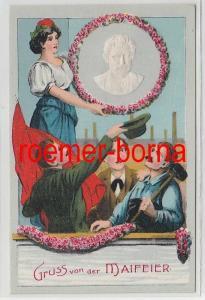 74174 Präge Ak Gruss von der Maifeier August Bebel um 1910
