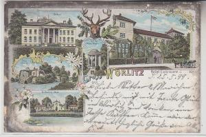71860 Ak Lithographie Gruß aus Wörlitz Hotel Eichenkranz 1899