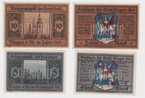 5 & 10 Mark Banknoten Notgeld Stadt Bingen 25.10.1918 (122018)