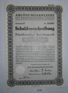 500 Reichsmark Schuldverschreibung des Hamburgischen Staates 1.11.1927 (131752)