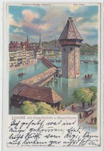 68374 Ak Luzern mit Kappelbrücke und Wasserturm 1903