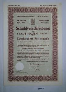 200 Reichsmark Schuldverschreibung Stadt Hagen 25.August 1928 (131732)