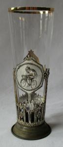 Altes Trinkglas / Pokal Radsportverein Radrennen um 1910 (130240)