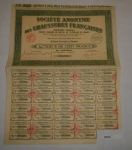 100 Franc Aktie Société Anonyme des Chaussures français Paris 1929 (128161)