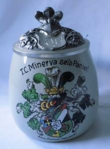 Seltener Studentika 0,5 L Keramikkrug mit Zinndeckel München um 1930 (115666)