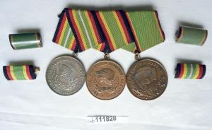 DDR Ordensspange NVA und KVP mit 3 Orden einer aus 900er Silber (112878)