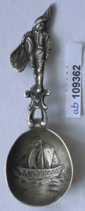 Hübscher Zierlöffel Löffel Silber 800 Fischer Seemann Segelboot vor 1900