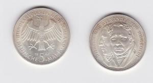 5 Mark Silber Münze Deutschland Gebrüder Humboldt 1967 F (123072)