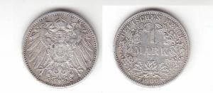 1 Mark Silber Münze Deutschland Kaiserreich 1909 G Jäger Nr.17 (114487)