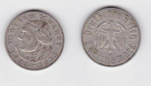 2 Mark Silber Münze Martin Luther 1933 E Jäger 352 (117258)