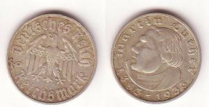 2 Mark Silber Münze Deutsches Reich Martin Luther 1933 E (109477)