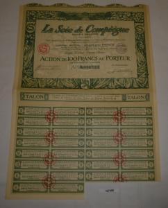 100 Franc Aktie la Soie de Compiègne Paris (Seine) 3. Februar 1928 (127450)
