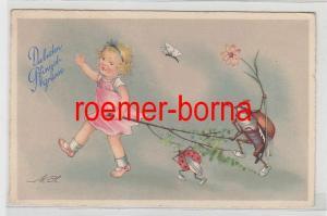 79654 Pfingst Ak Kind mit Maikäfer, Marienkäfer, Schmetterling 1940