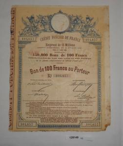 100 Franc Aktie Crédit Foncier de France Emprunt de 15 Millions 1888 (128149)