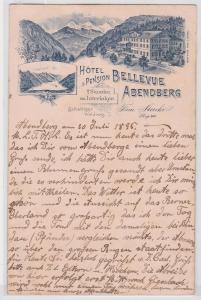 87552 Vorläufer AK Hôtel & Pension Bellevue Abendberg 1895
