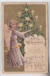 68493 Fröhliche Weihnachten Präge Ak Engel und Tannenbaum 1904