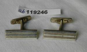 Hübsche Manschettenknöpfe 835er Silber mit Streifen um 1930 (119246)
