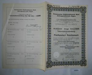 500 Mark Aktie Hagen kommunales Elektrizitätswerk Mai 1939 (132220)