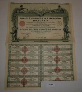 100 Franc Aktie Société Agricole & Financière d'Algérie Paris 1927 (127642)